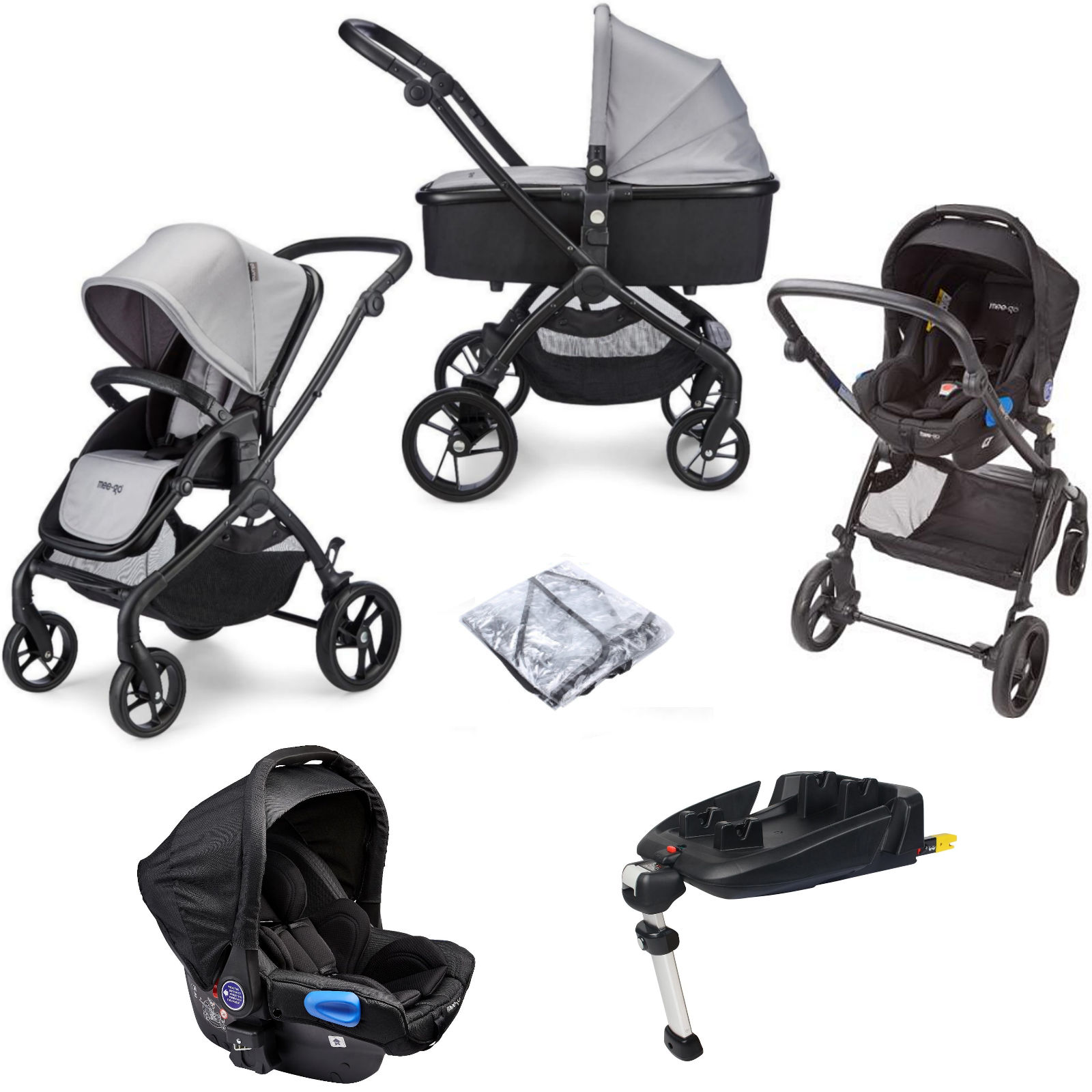 Mee-Go Plumo (Otto Car Seat) Travel System with ISOFIX Base - Ash Grey