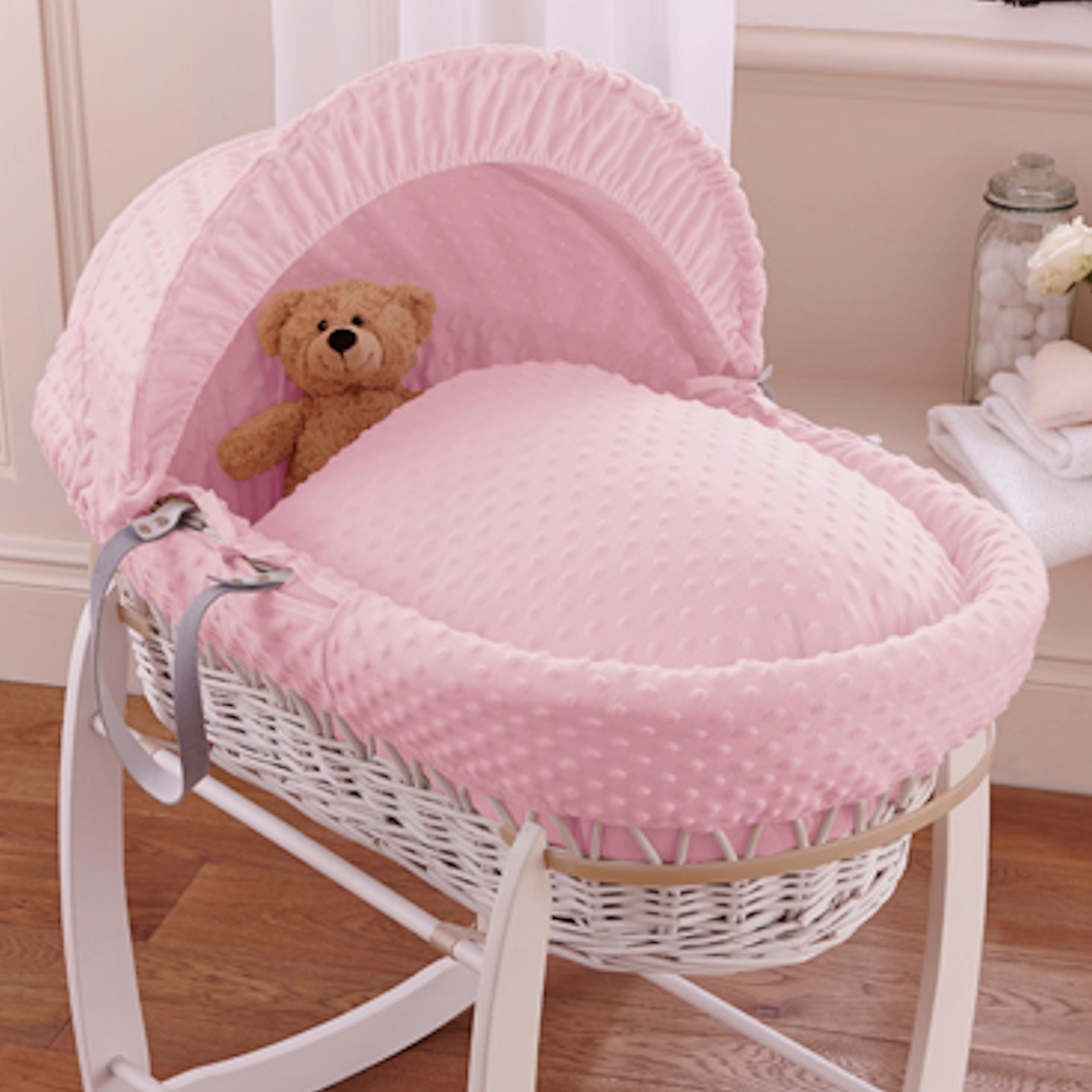 Clair De Lune Deluxe Padded White Wicker Baby Moses Basket Pink Dimple At Online4baby