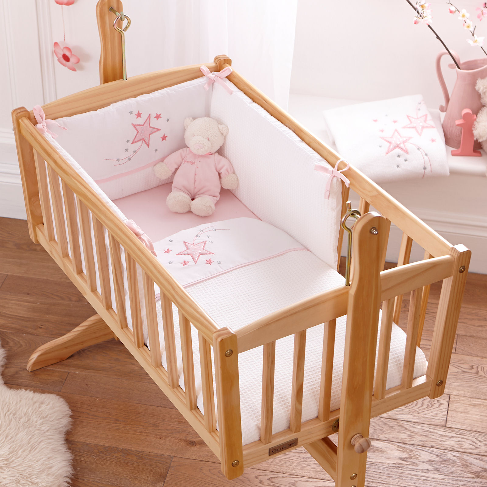 teddy swinging cribs hire bedding bumper mothercare with rent harrow mobile matching rentals crib mattress
