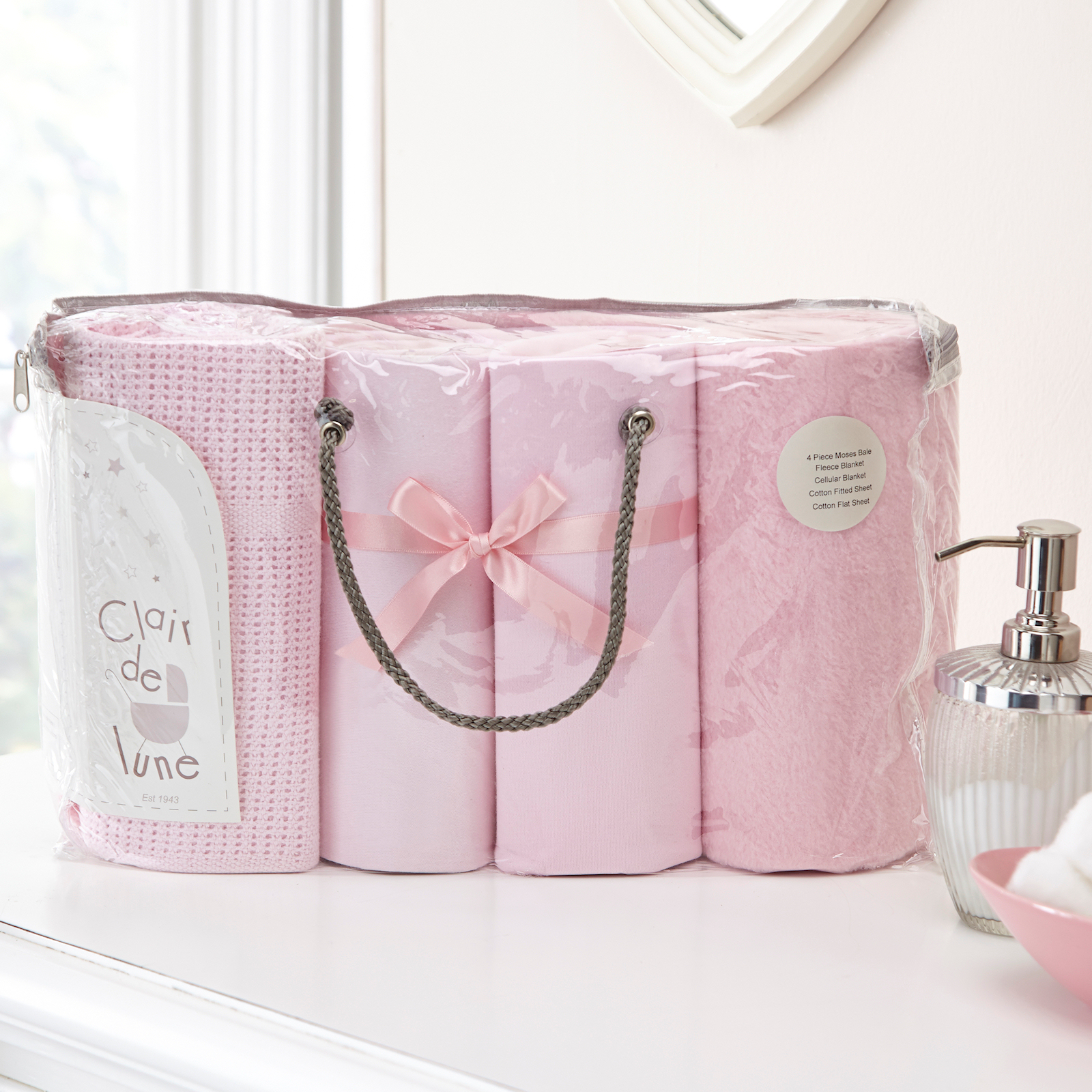 Clair De Lune 4 Piece Moses Basket Bedding Bale Gift Set Pink