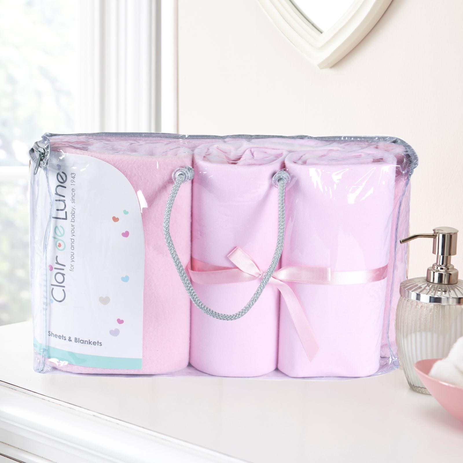 Clair De Lune 3 Piece Cot Bed Bedding Bale Gift Set Pink