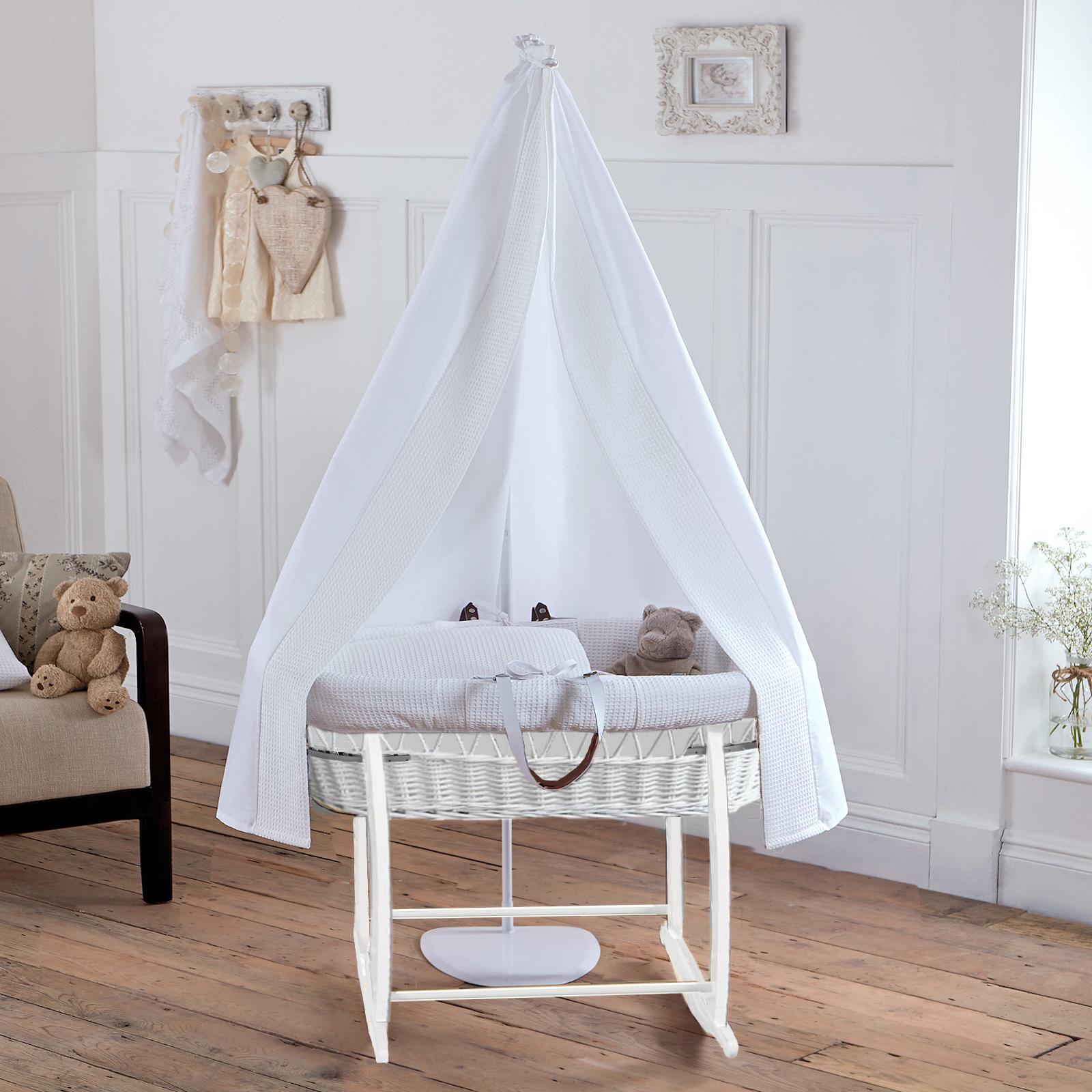 clair de lune 6 piece white wicker moses basket stand. Black Bedroom Furniture Sets. Home Design Ideas