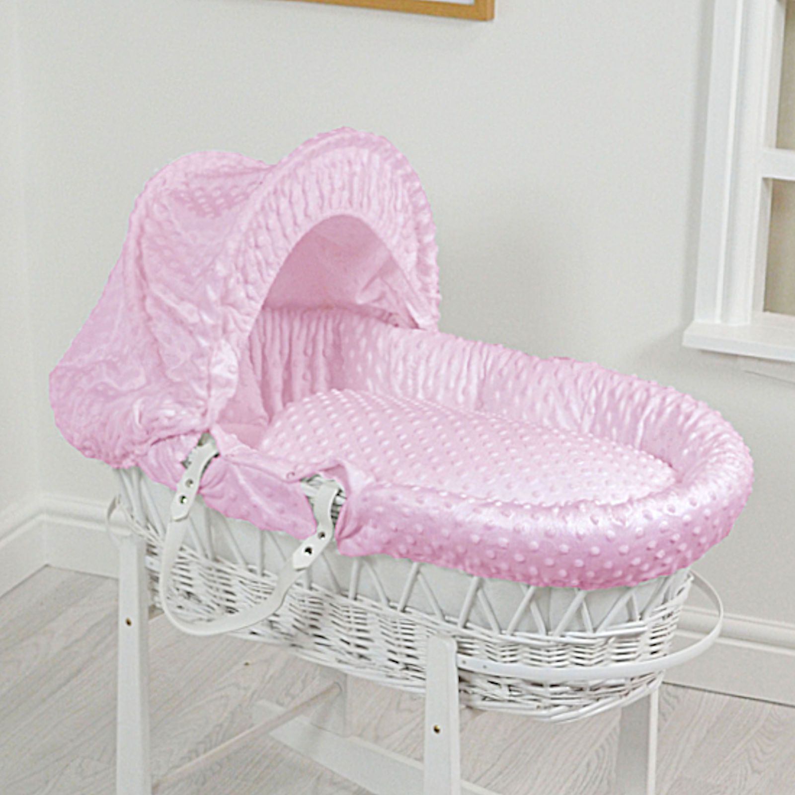 4baby Luxury Padded White Wicker Baby Moses Basket Pink Dimple At Online4baby