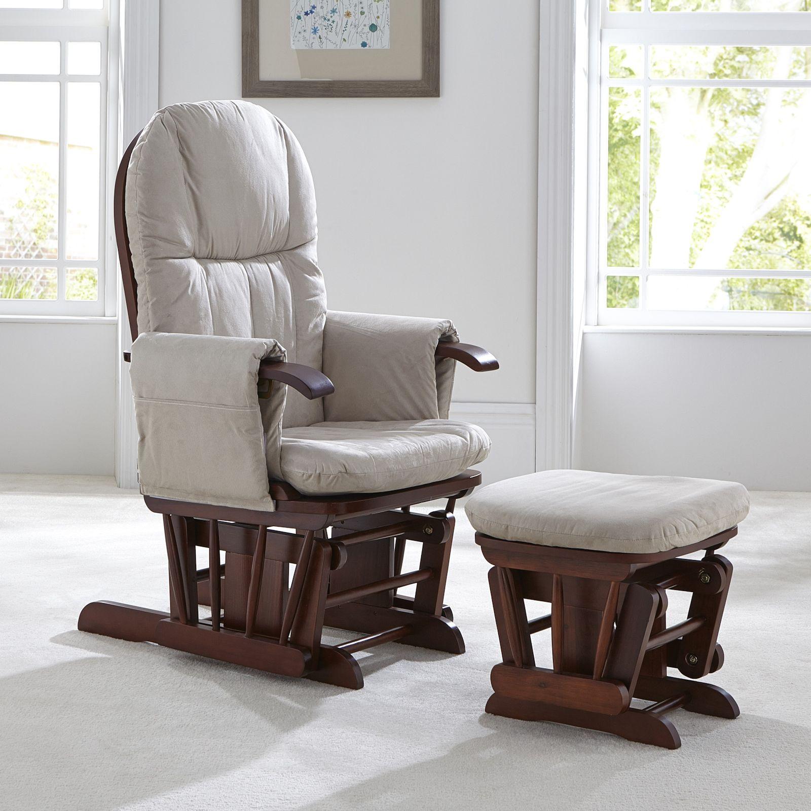 Tutti Bambini GC35 Reclining Glider Nursing Chair & Stool Walnut