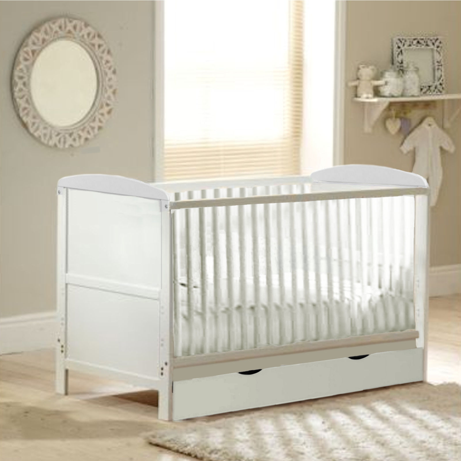 Baby Classic Cot Bed With Drawer Deluxe Foam Mattress White