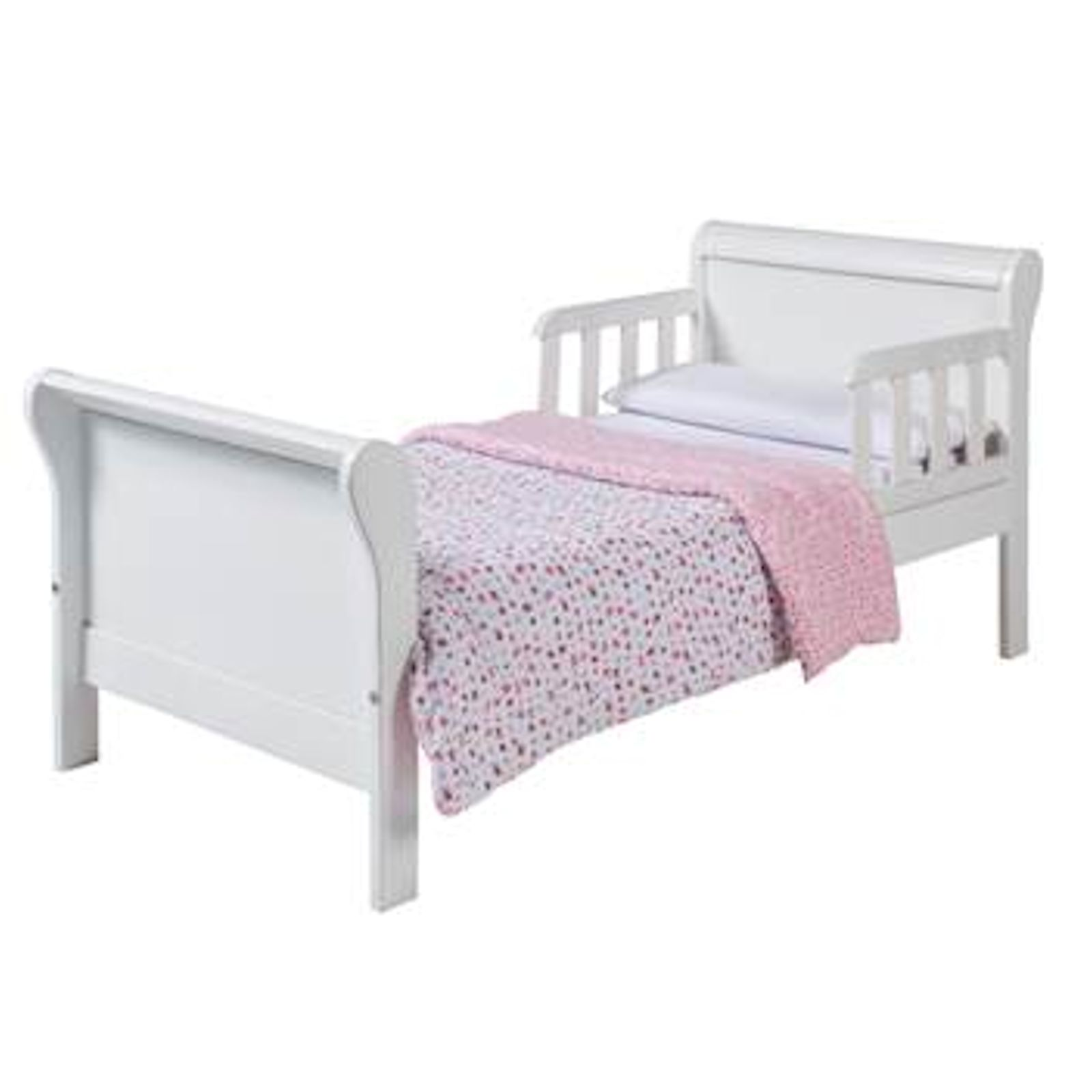 4Baby Deluxe Sleigh Junior Toddler Bed With Foam Mattress - White ...