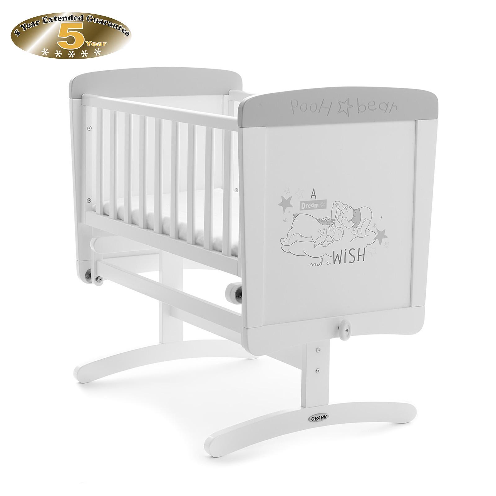 obaby disney pooh dreams u0026 wishes gliding crib white with grey trim