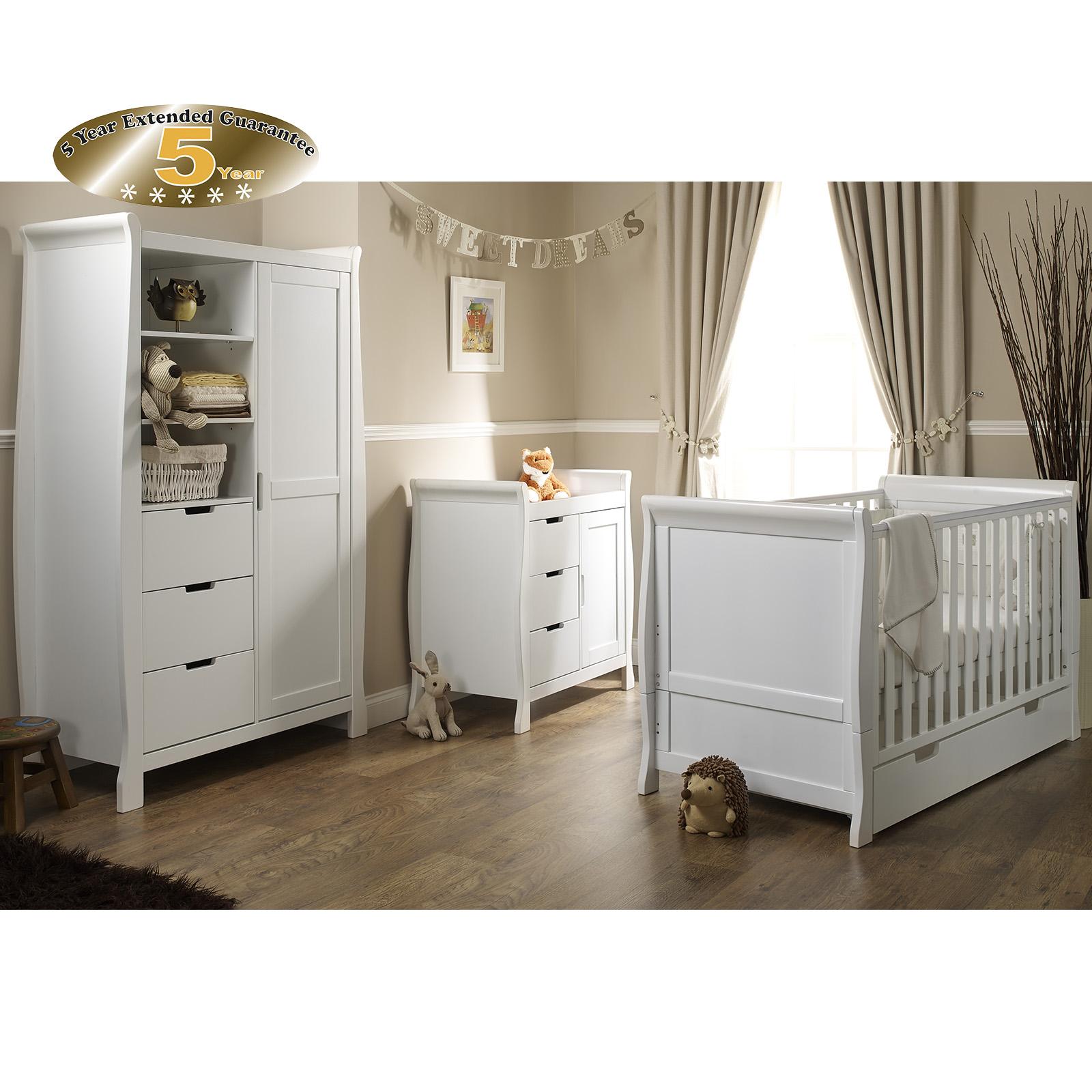Obaby Stamford Clic Sleigh 3 Piece Room Set White
