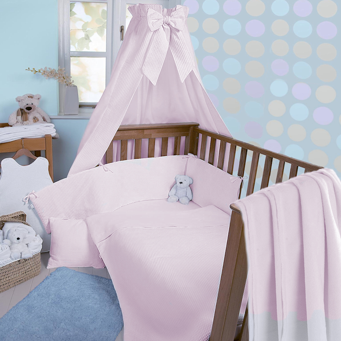 Clair De Lune Soft Waffle 3 Piece Cot Bed Bedding Bale Pink