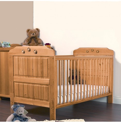4Baby Pluto Solid Wood Playballs Cot Bed With Fibre Mattress - Honey Pine