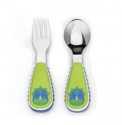 Skip Hop Zoo Mealtime Utensils (Fork & Spoon) - Dinosaur