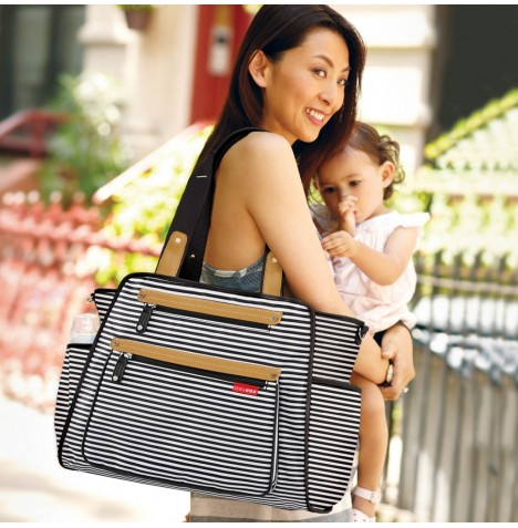 Skip Hop Grand Central Take-It-All Changing Bag - Black & White Stripes
