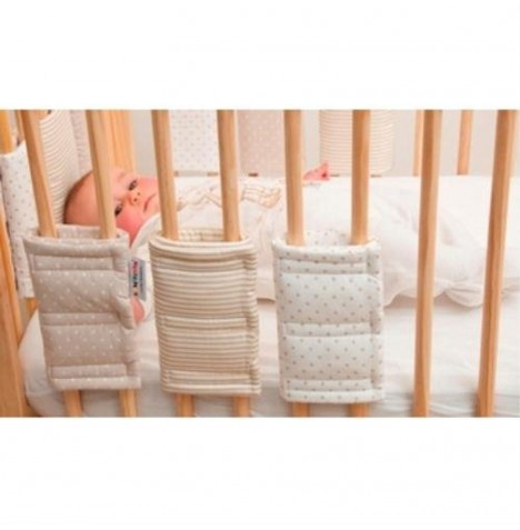 Hippychick Bumpsters Cot / Cot Bed Bar Bumpers (8 Pack) Small - Stone Spot / Stripe