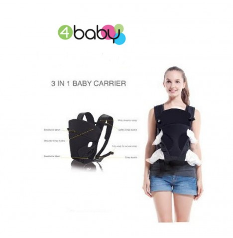 4Baby Three Way Baby Carrier - Black