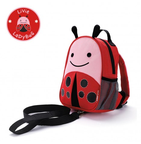 Skip Hop Zoo Let Children's Back Pack With Reins - Lady Bug
