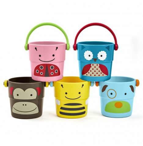 Skip Hop Zoo Stack & Pour Bath Toy Buckets