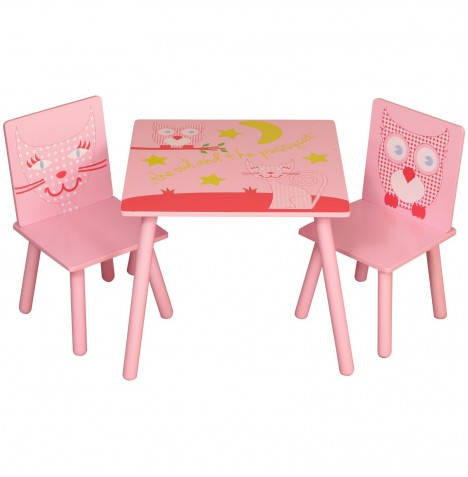 Kidsaw Table & Chairs Set - Owl & Pussycat