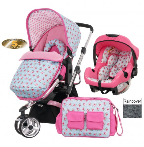 Obaby Chase Stroller Travel System - Cottage Rose