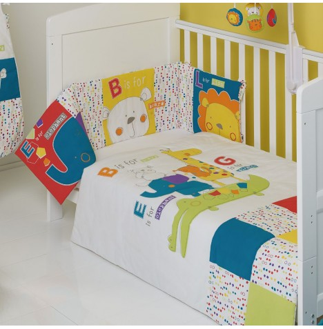 Obaby B Is For Bear Cot / Cot Bed Quilt & Bumper Set - Happy Safari