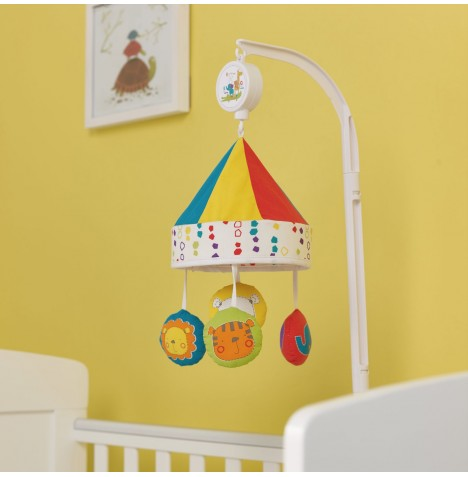 Obaby B Is For Bear Musical Cot / Cot Bed Mobile - Happy Safari