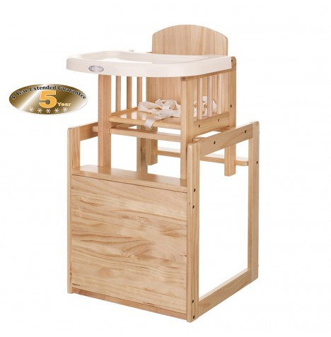 Obaby Combination 2 in 1 Wooden Highchair - Natural Wood
