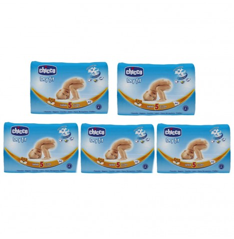 Chicco Dry Fit Junior Mega Box Size 5 (12-25kgs / 26-55lbs) - 136 Nappies