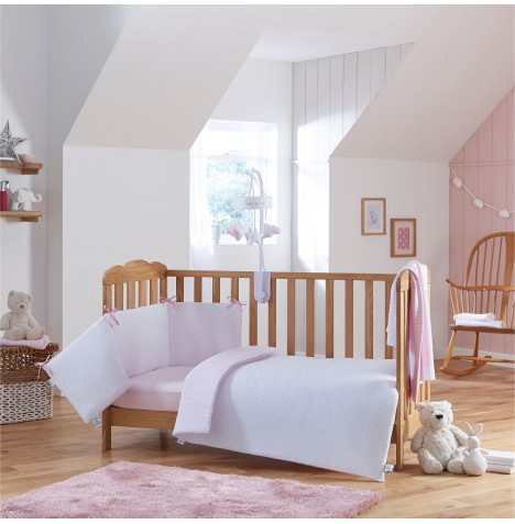 Clair De Lune Stars & Stripes Cot / Cot Bed Quilt & Bumper Set - Pink