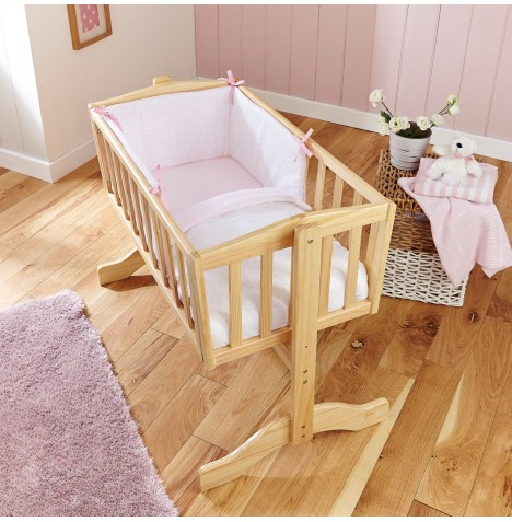 Clair De Lune Stars & Stripes Rocking Crib Quilt & Bumper Set - Pink