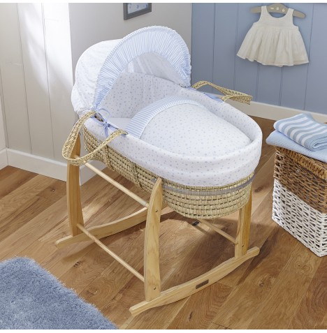 Clair De Lune Padded Palm Moses Basket - Stars & Stripes Blue