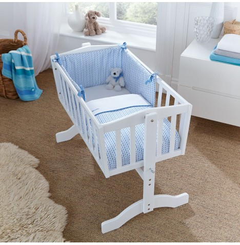 Clair De Lune Rocking Crib Quilt & Bumper Set - Barley Bebe Blue