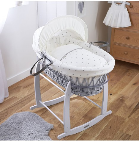 Clair De Lune Deluxe Padded Grey Wicker Moses Basket - Lullaby Hearts
