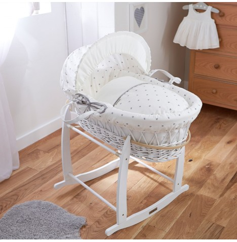 Clair De Lune Deluxe Padded White Wicker Moses Basket - Lullaby Hearts