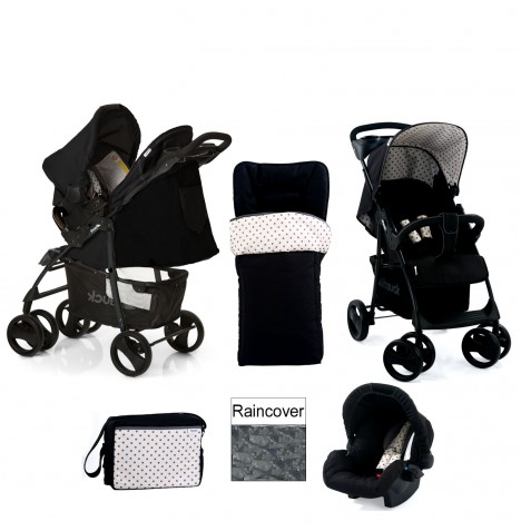 Hauck Shopper Shop n Drive Travel System + Accessories - Black Dots