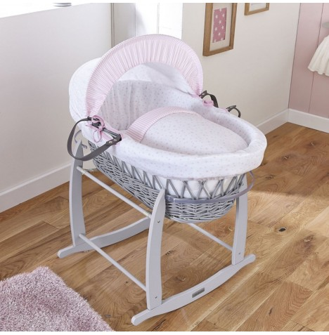 Clair De Lune Deluxe Padded Grey Wicker Moses Basket - Stars & Stripes Pink