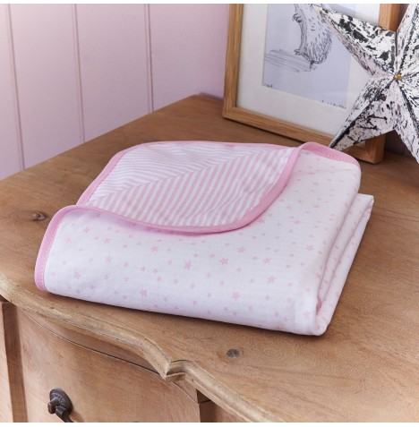 Clair De Lune Cot / Cot Bed Blanket - Stars & Stripes Pink