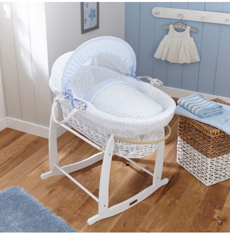 Clair De Lune Deluxe Padded White Wicker Moses Basket - Stars & Stripes Blue