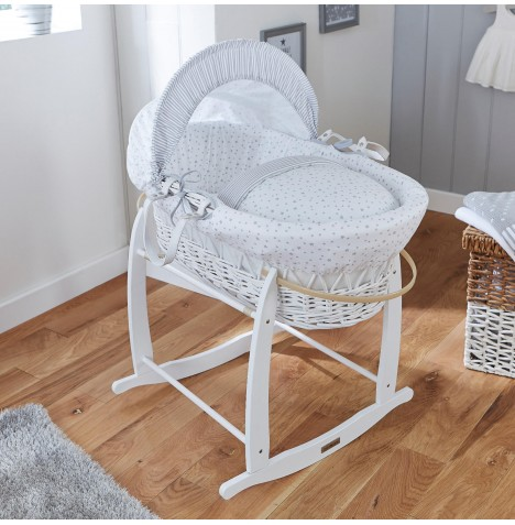 Clair De Lune Deluxe Padded White Wicker Moses Basket - Stars & Stripes Grey