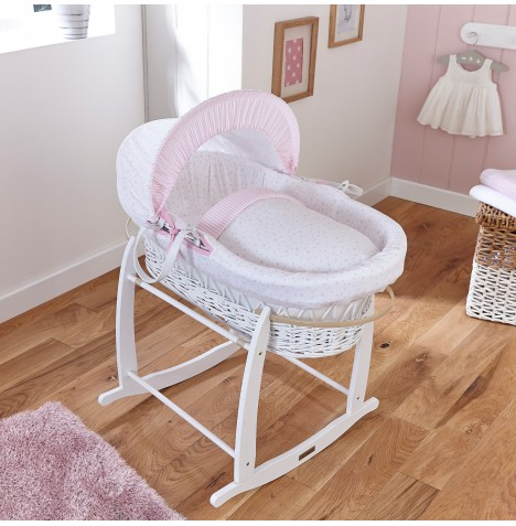 Clair De Lune Deluxe Padded White Wicker Moses Basket - Stars & Stripes Pink
