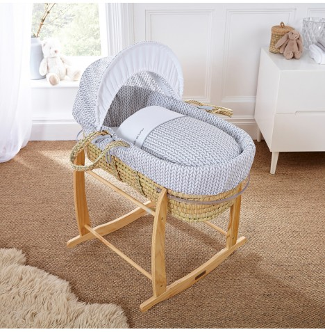 Clair De Lune Padded Palm Moses Basket - Barley Bebe Grey