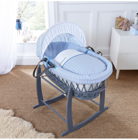 Clair De Lune Deluxe Padded Grey Wicker Moses Basket - Barley Bebe Blue