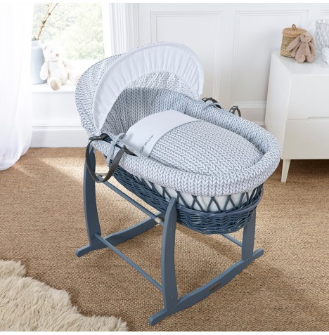 Clair De Lune Deluxe Padded Grey Wicker Moses Basket - Barley Bebe Grey