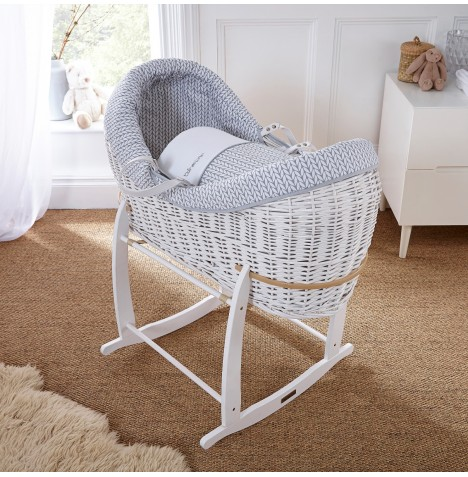 Clair De Lune White Wicker Crossover Noah Pod - Barley Bebe Grey