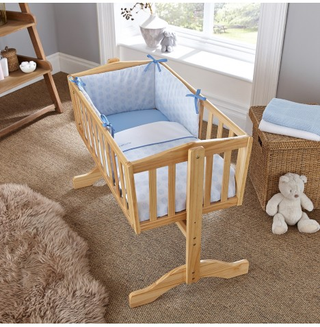 Clair De Lune Rocking Crib Quilt & Bumper Set - Speckles Blue