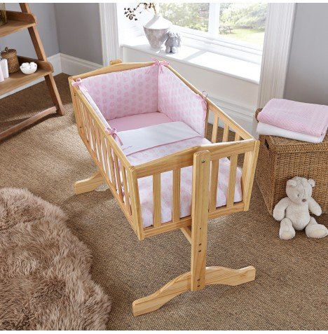 Clair De Lune Rocking Crib Quilt & Bumper Set - Speckles Pink