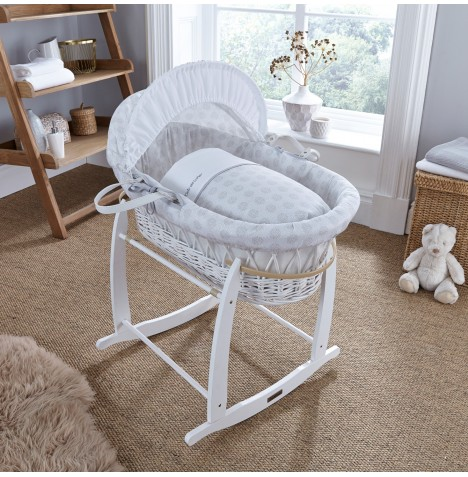 Clair De Lune Deluxe Padded White Wicker Moses Basket - Speckles Grey