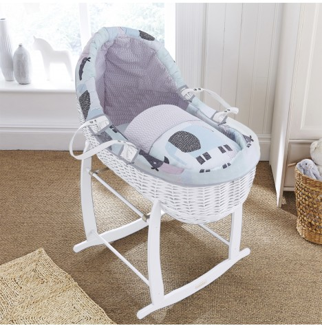 Clair De Lune White Willow Bassinet Moses Basket - Stanley & Pip