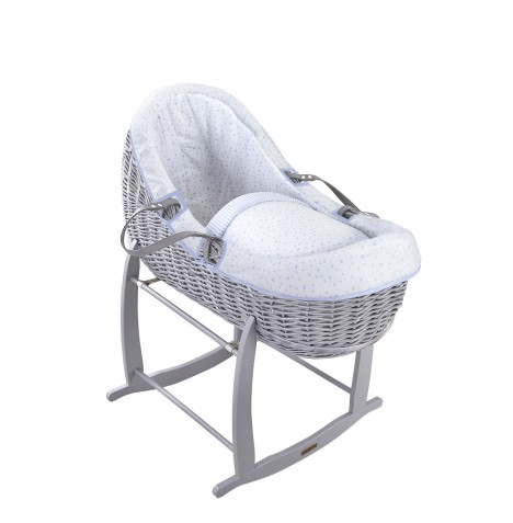 Clair De Lune Grey Willow Bassinet Moses Basket - Stars & Stripes Blue