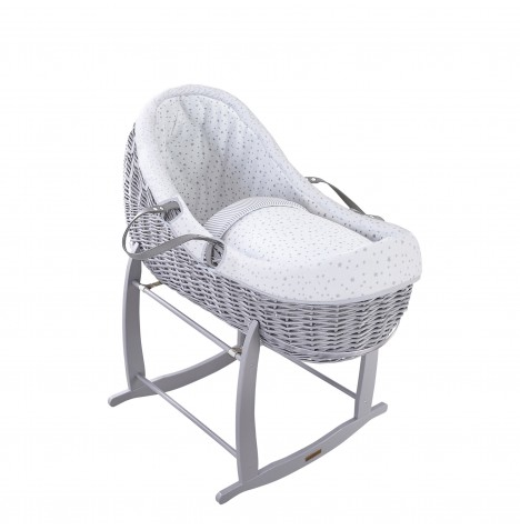 Clair De Lune Grey Willow Bassinet Moses Basket - Stars & Stripes Grey