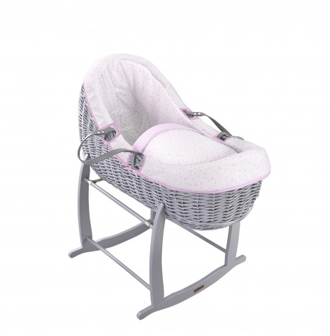 Clair De Lune Grey Willow Bassinet Moses Basket - Stars & Stripes Pink
