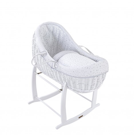 Clair De Lune White Willow Bassinet Moses Basket - Stars & Stripes Grey